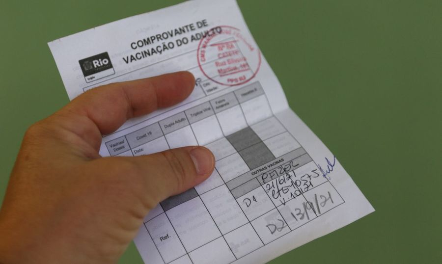 Center comprovante de vacinacao contra a covid 19 no municipio do rio de janeiro com a vacina da pfizer.050720211235